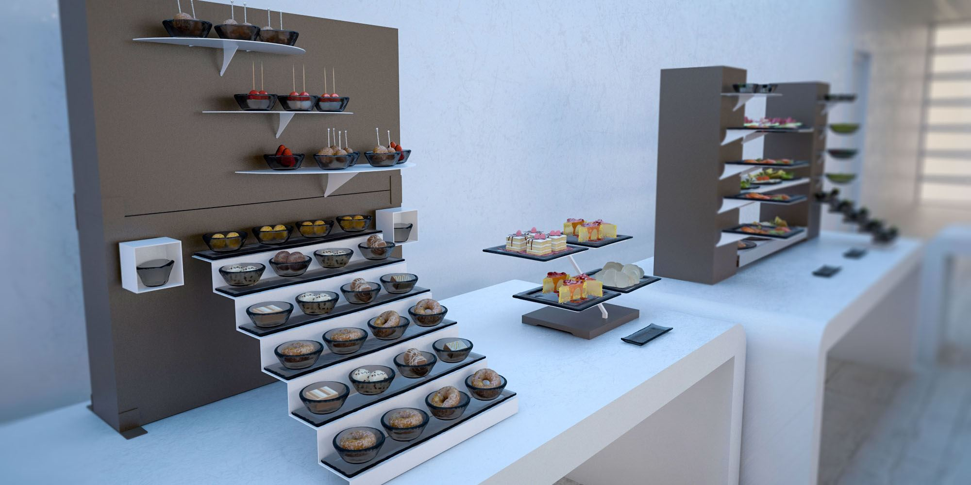 Brunch buffet systems for Canape display equipment