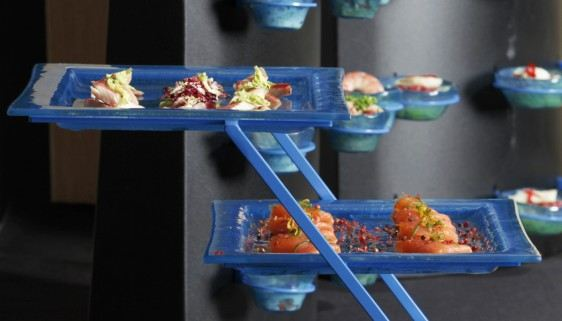 blue appetizer plate