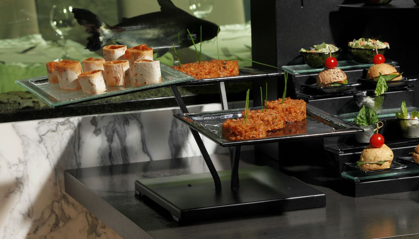 cold cuts plate buffet display risers