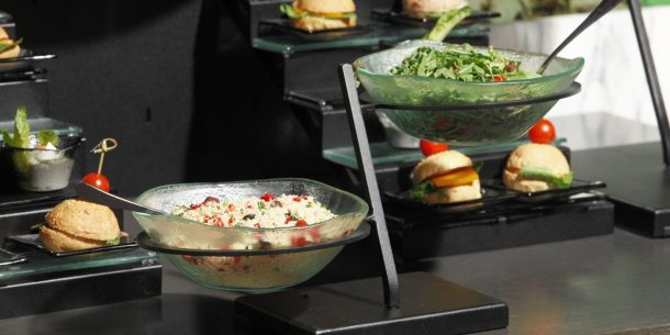 composed salad 2 tier bowl stands