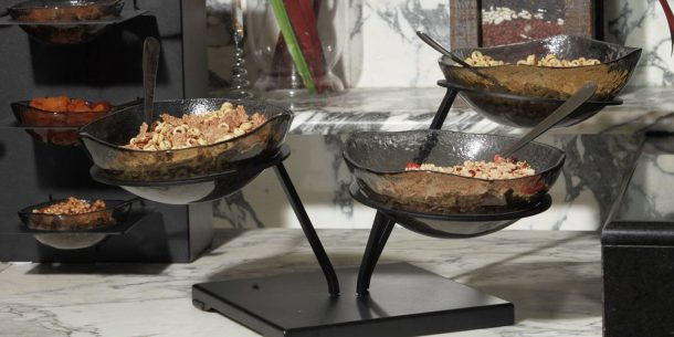 composed salad bowl buffet display risers