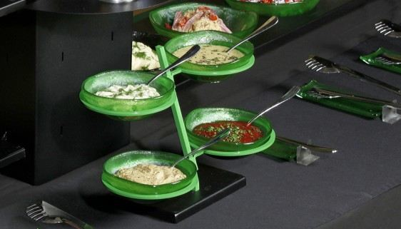 composed salads buffet dressing bowl stands