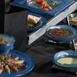 clear buffet dressing bowl stands