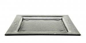 Gray Medium Square Glass Platters