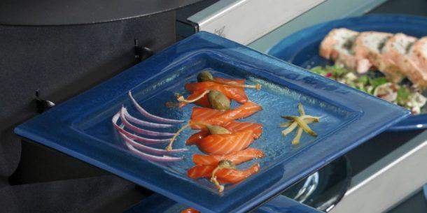 Salmon Medium Square Glass Platters