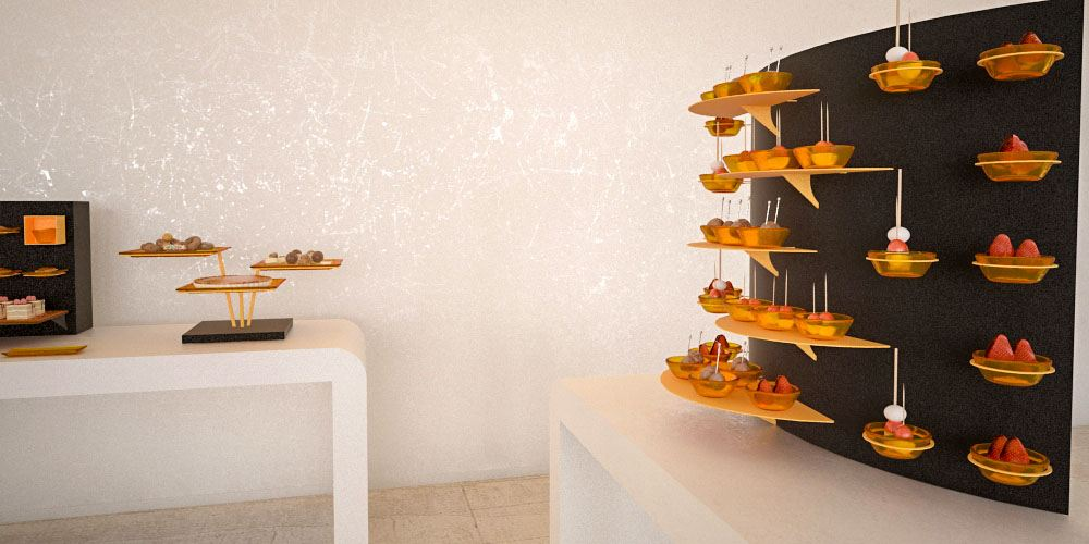canape display small coffee break buffet system
