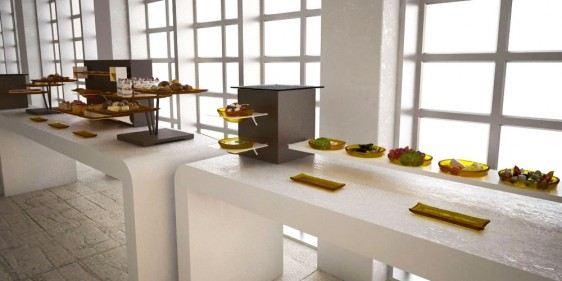fruit display big coffee break buffet system