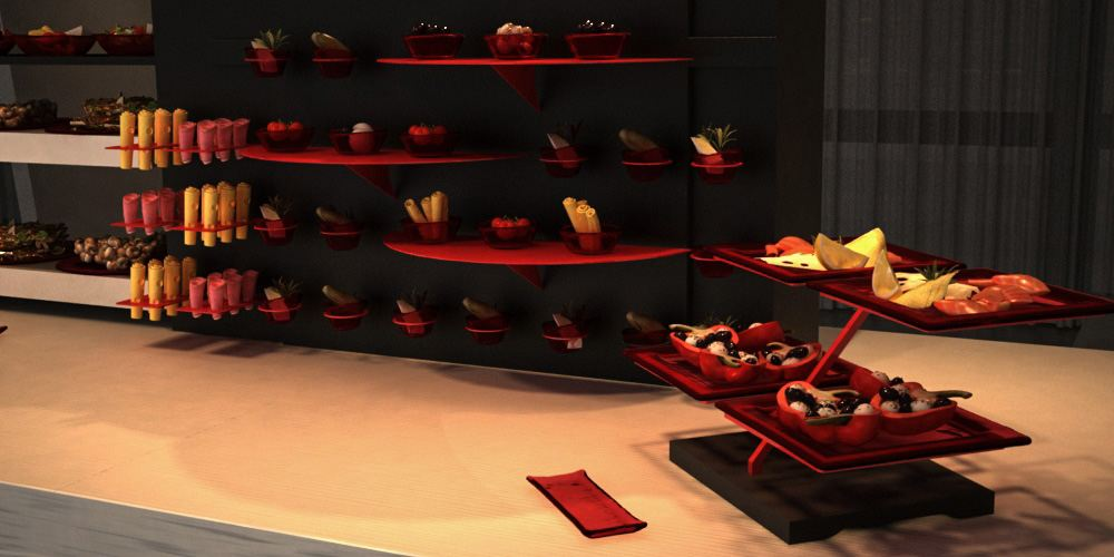 plate stand lounge buffet system