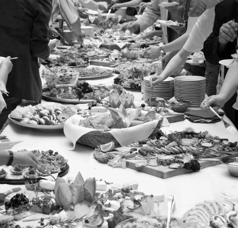 Buffet-Table1 cluttered bw cropped